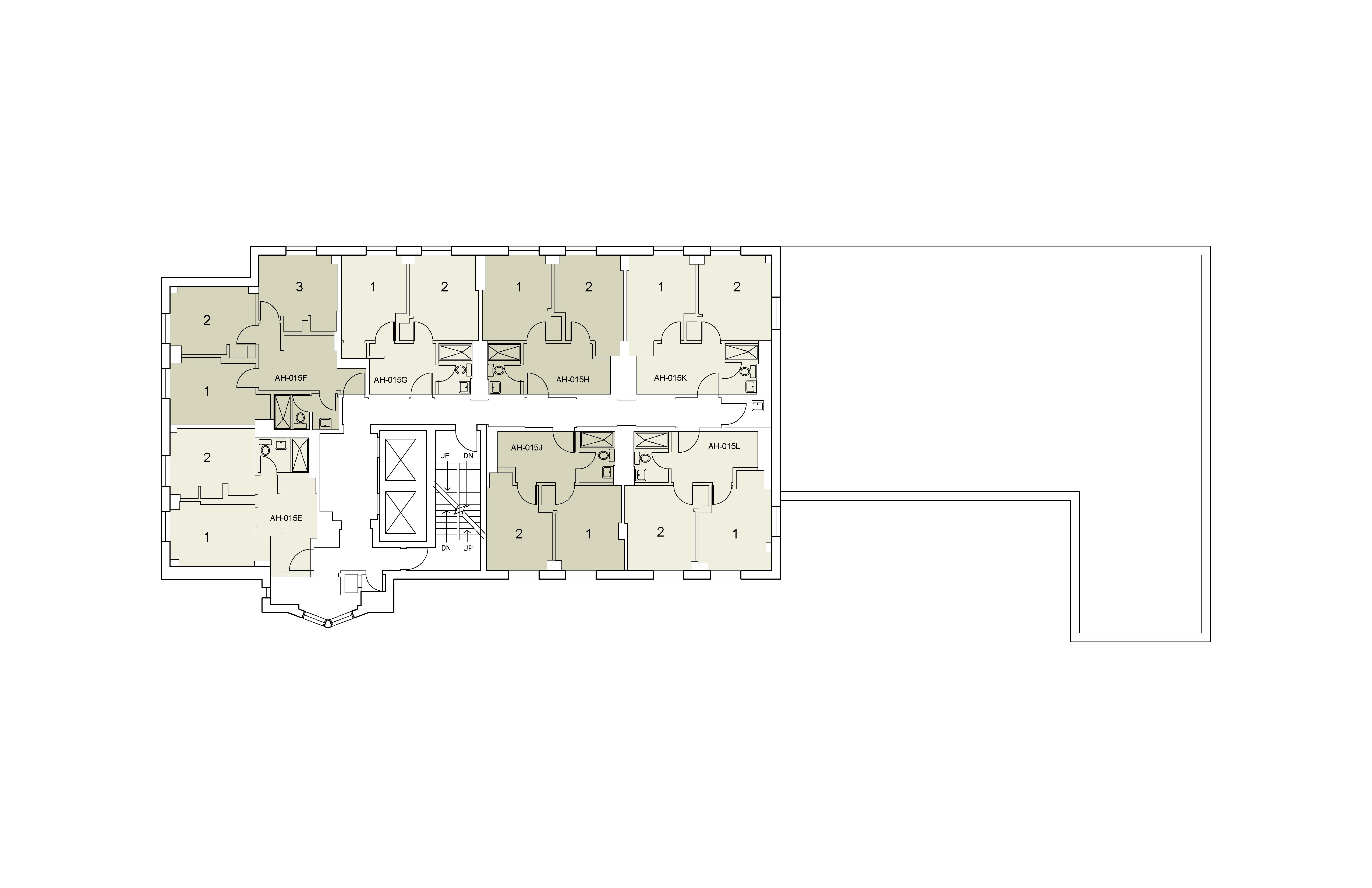 Floor plan for Alumni Floor 15