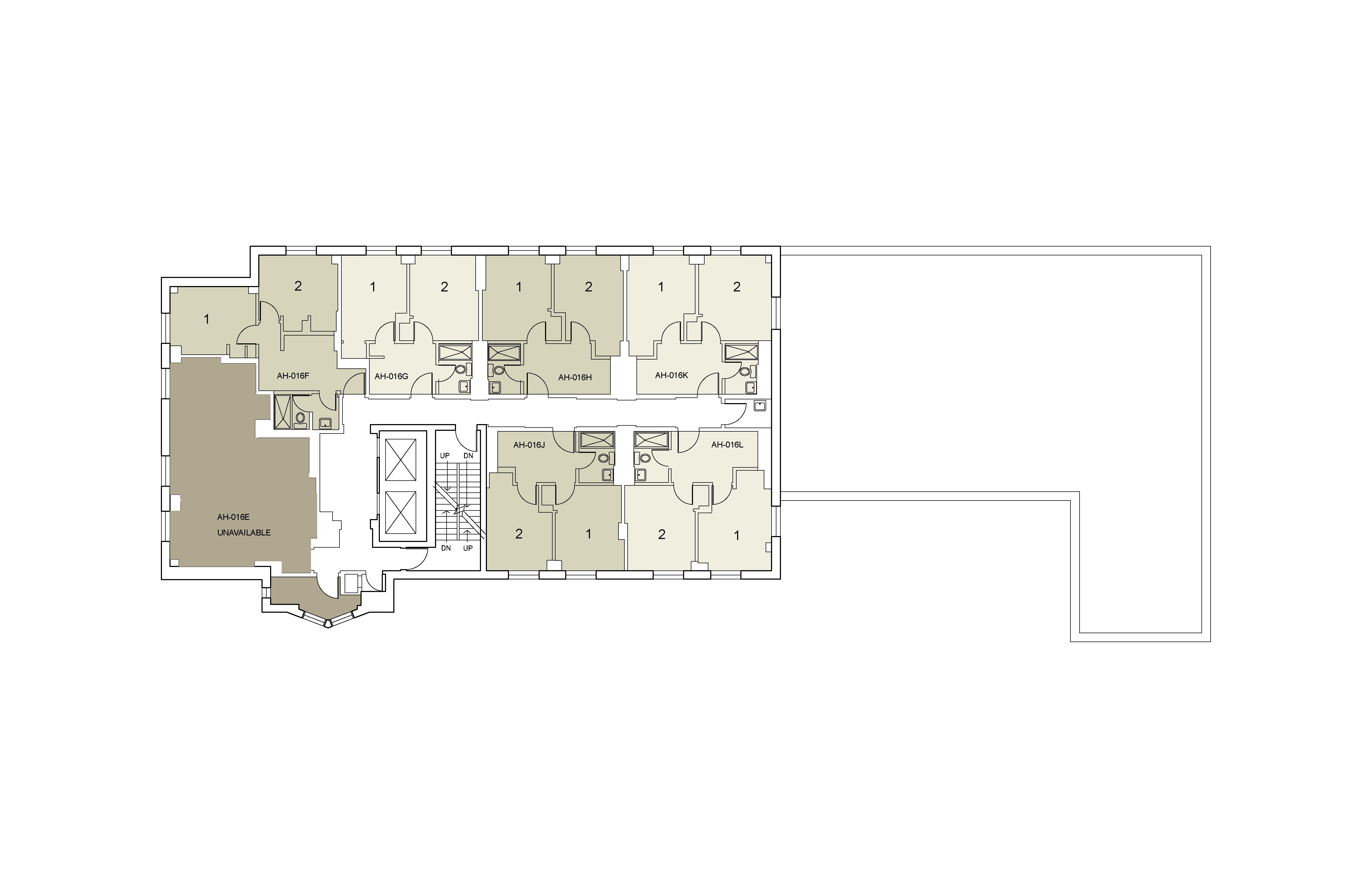Floor plan for Alumni Floor 16