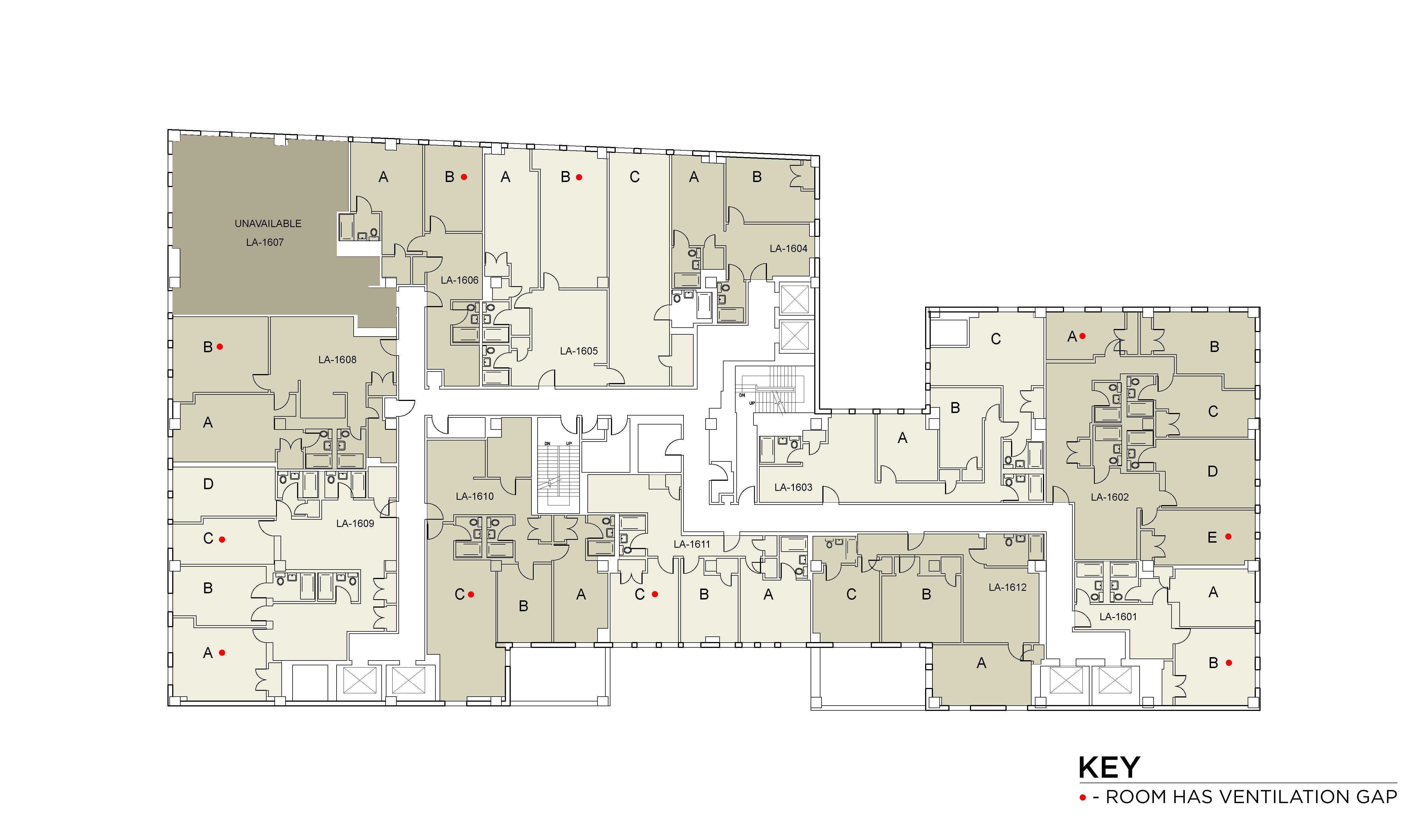 Floor plan for Lafayette Floor 16