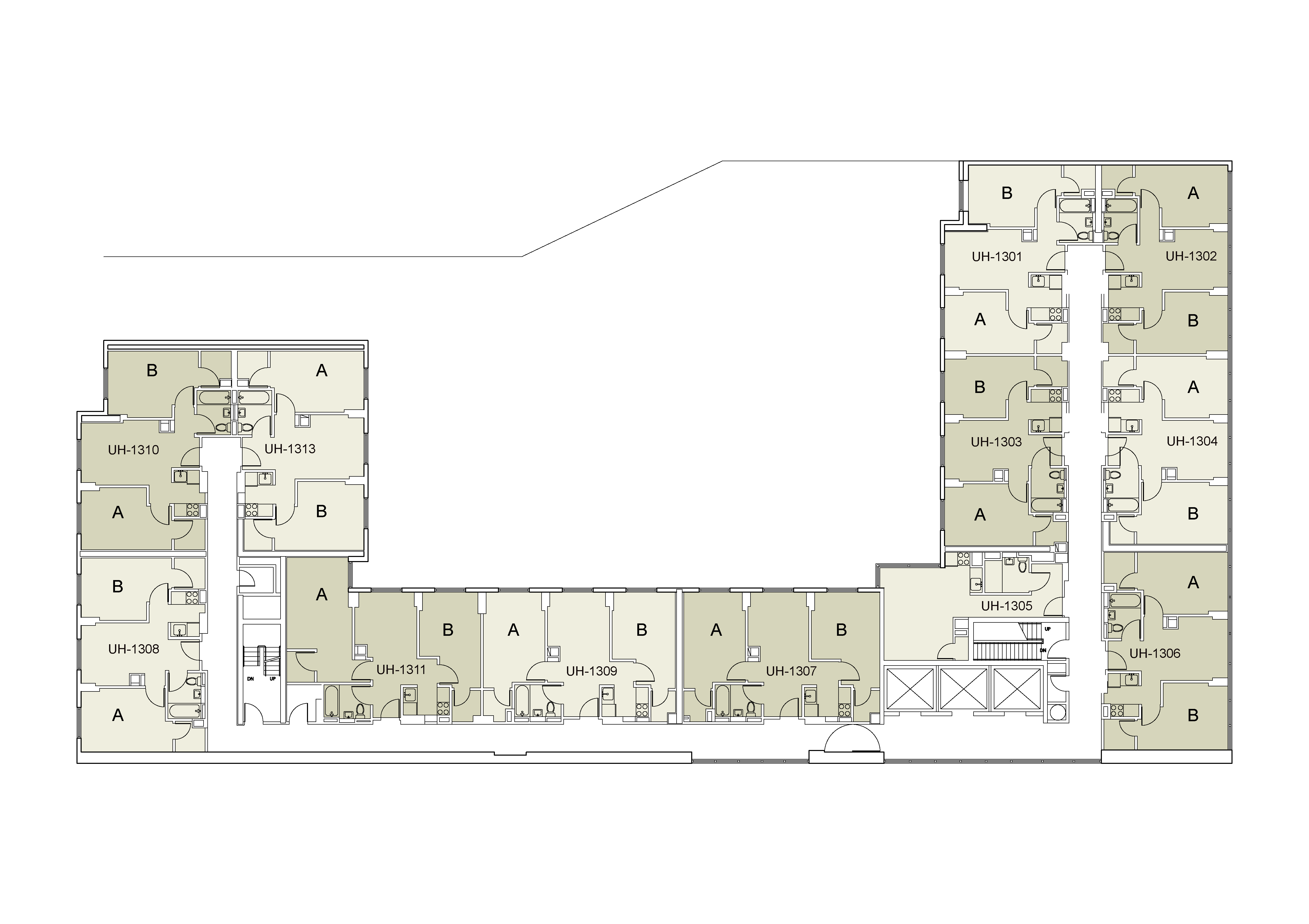 Floor plan for U Hall Floor 13