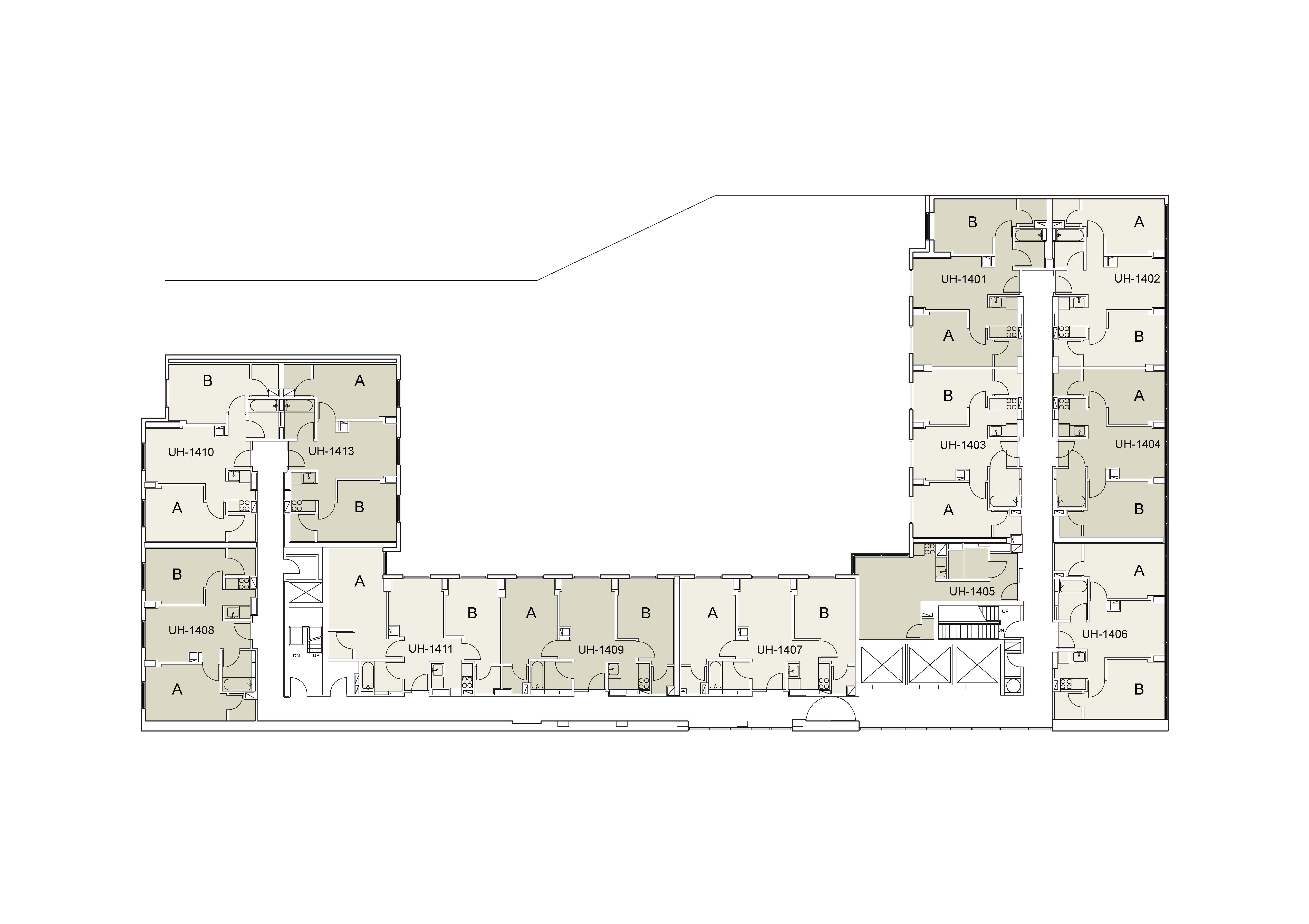 Floor plan for U Hall Floor 14
