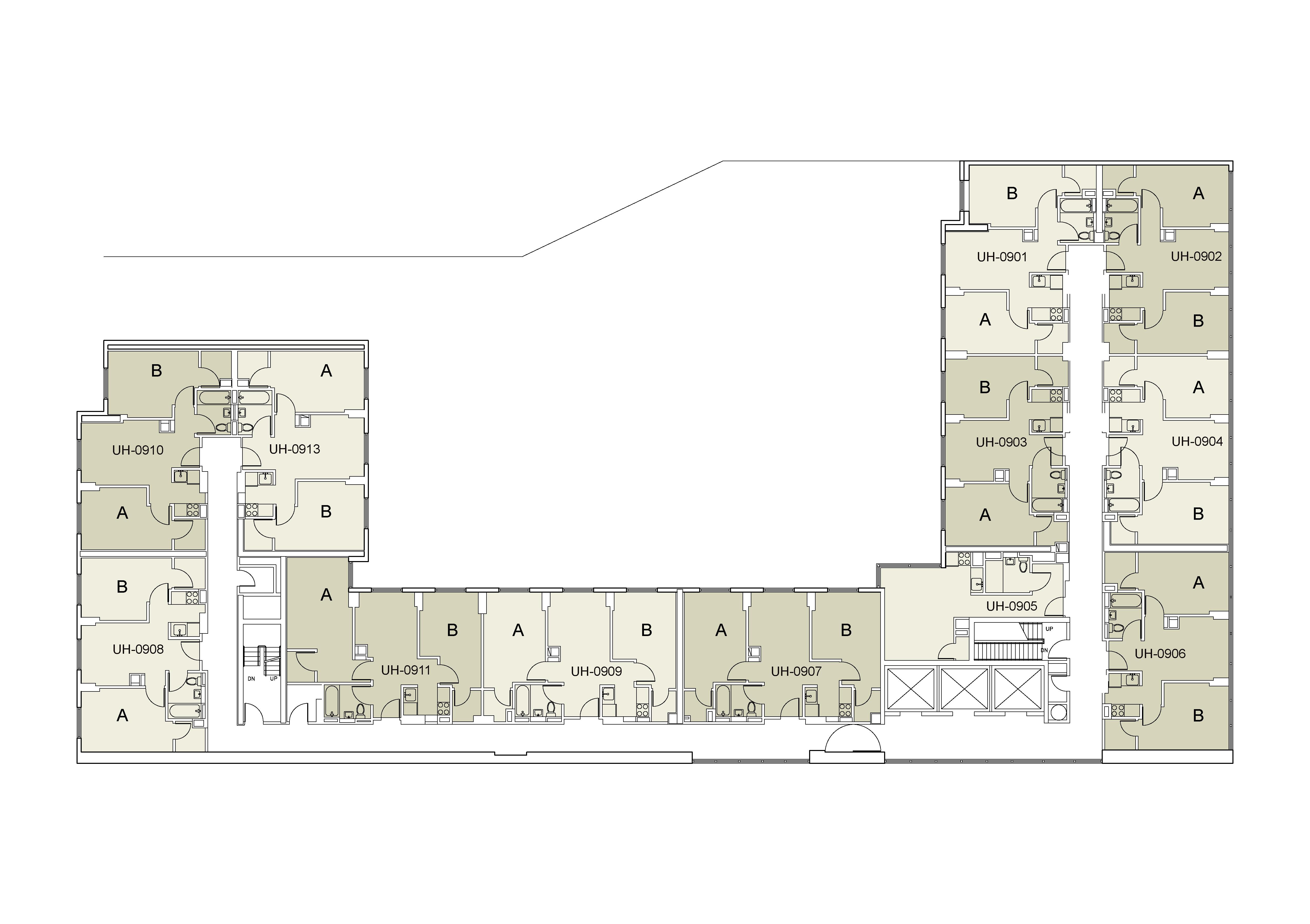 Floor plan for U Hall Floor 09